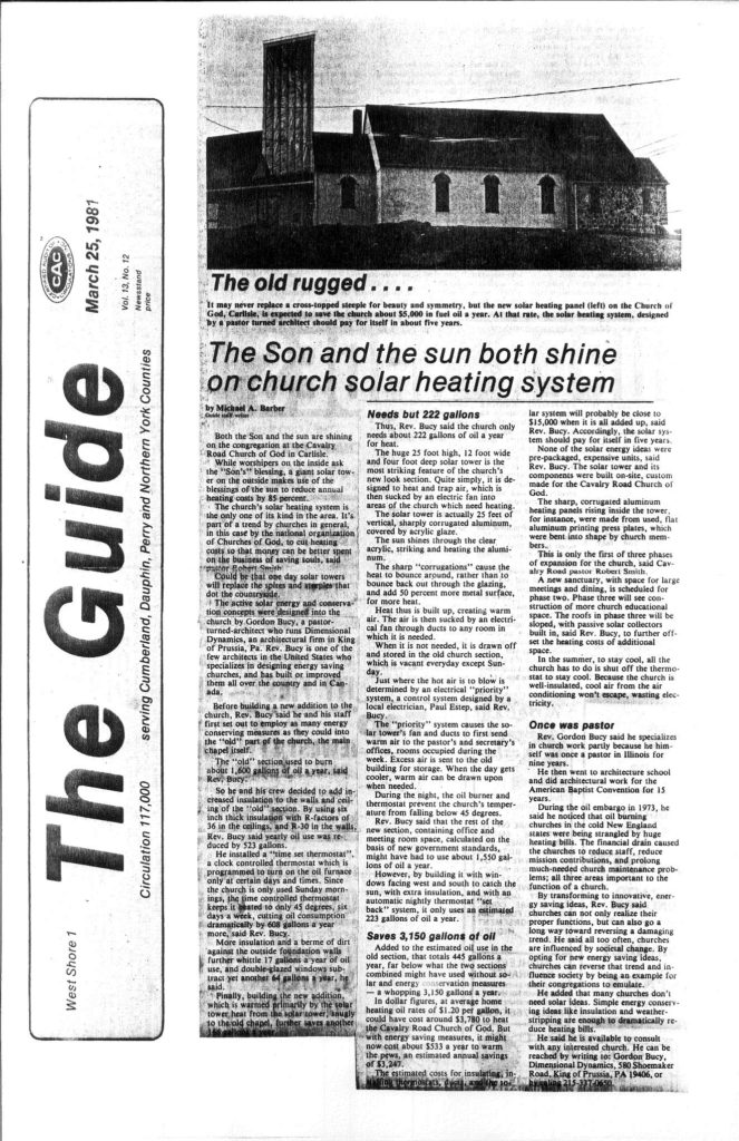 """THE GUIDE"" - ARTICLE ABOUT THE CHURCH DESIGN AND OUR FOUNDING PARTNER, REV. L. GORDON BUCY"